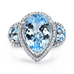 18k White Gold Three Stone Pear Shaped Blue Topaz Ring