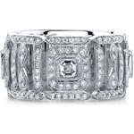 14k White Gold Pave Bezel Asscher Diamond Fashion Ring