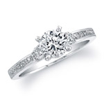 18k White Gold Classic Three Stone Princess Cut Diamond Engagement Ring