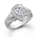 14k White Gold Pear Shaped Side Stone Diamond Engagement Ring