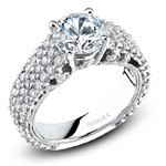 18k White Gold Pave Prong Classic Diamond Engagement Ring