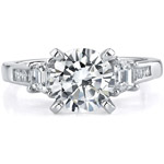 18k White Gold Three Stone Princess Cut Diamond Semi Mount