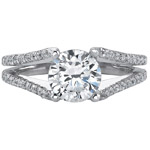 14k White Gold Split Shank Pave Diamond Semi Mount Engagement Ring