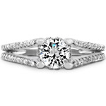 14k White Gold Raised Shank Diamond Engagement Semi Mount Ring