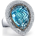 14k White Gold Blue Topaz and Brown Diamond Ring