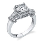 18k White Gold Baguette Three Stone Engagement Ring