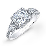 14k White Gold Princess Halo Diamond Engagement Ring with Pear Side Stones