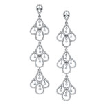 18k White Gold Scallop Chandelier Diamond Earrings NK18028W