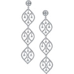 18k White Gold Pear Shaped Diamond Chandelier Earrings