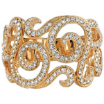 18k Yellow Gold Diamond Swirl Fashion Band