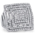 18k White Gold Fashion Diamond Square Band