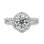 14k White Gold Micro Pave Halo Diamond Engagement Ring with Split Shank