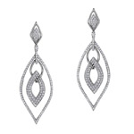 18k White Gold Pave Prong Interlocked Diamond Earrings