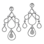 18k White Gold Pave Diamond Chandelier Drop Earrings