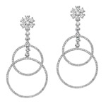 18k White Gold Cascading Hoop Diamond Earrings NK19130W