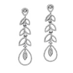 18k White Gold Cascading Leaves Diamond Earrings