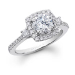 14k White Gold Pave Prong Diamond Engagement Ring