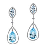 18k White Gold Blue Topaz Diamond Drop Earrings