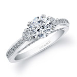 14k White Gold Micro Prong Three Stone Diamond Semi Engagement Ring