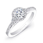 14k White Gold Three Stone Diamond Halo Engagement Semi Mount