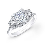 14k White Gold Princess Cut Diamond Engagement Ring with Trapezoid Side Stones