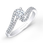 14k White Gold Split Swirl Shank Prong Diamond Engagement Ring