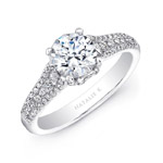 18k White Gold Prong and Channel Set White Diamond Engagement Ring