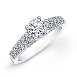 14k White Gold Prong Bezel Set Two Row Diamond Engagement Ring