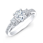 14k White Gold Pave Prong and Bezel Round Diamond Engagement Ring with Side Stones