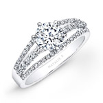14k White Gold Split Shank Pave White Diamond Engagement Ring