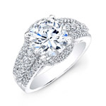14k White Gold Halo Inspired Pave and Prong Diamond Engagement Ring