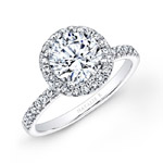 18k White Gold Prong Set Halo White Diamond Engagement Ring
