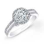18k White Gold Split Shank Halo White Diamond Engagement Ring