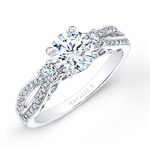 14k White Gold Pave and Prong Set White Diamond Engagement Ring