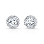 18k White Gold Prong Halo Diamond Stud Earrings