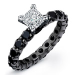 14k Black Gold Princess Cut Center Black Diamond Engagement SemiMount