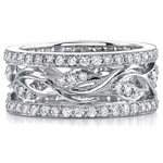 14k White Gold Fashion Diamond Leaf Band
