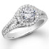 18k White Gold Three Stone Halo Diamond Bridal Ring Set