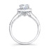 18k White Gold Split Shank Prong Halo White Diamond Engagement Ring